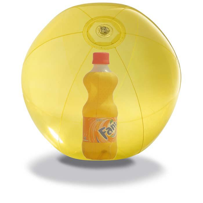 Pelota hinchable con impresión en cuatricromía, de 48 cm de diámetro desinflada, fabricada en PVC de 0,16 mms. aprox.