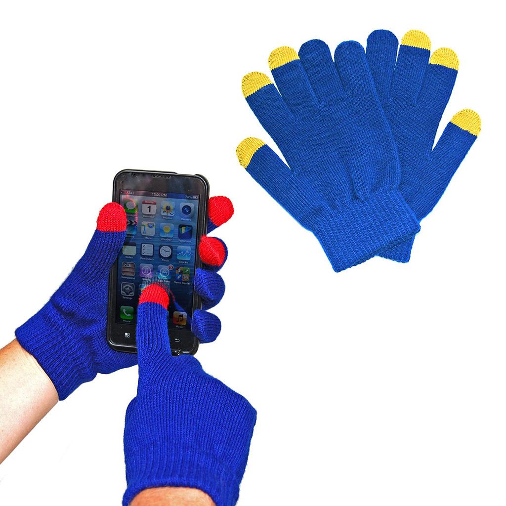 Guantes de 3 hilos para pantalla táctil con 3 puntas conductivas. Presentado en bolsa de plástico individual con textos impresos a un color.