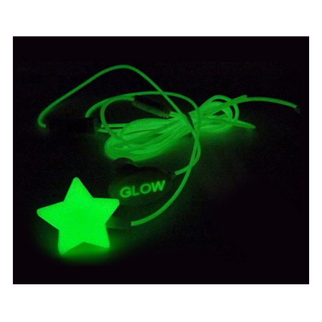 """Auricular luminoso con micro """"glow in the dark"""". De 1.2 m de cable y jack 3.5 mm. Presentado en caja transparente tubular."""