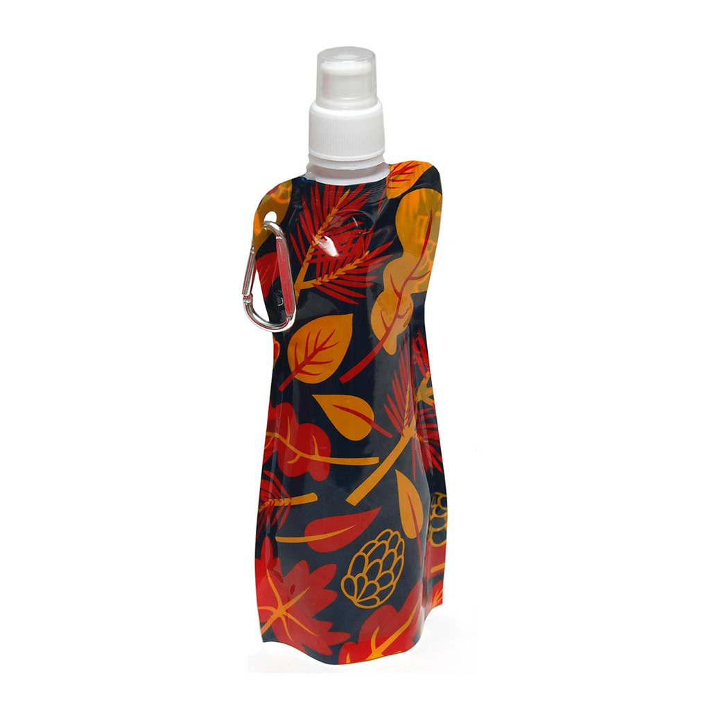 Botella plegable en color rojo; amarillo; azul o blanco fabricada en PE+PA+PET con mosquetón , de medidas 12.0x 27 x 3.2 cm aprox, y capacidad 450 ml aprox. Incluye impresión de logo a uno o tres colores alrededor de toda la botella o en una posición.
