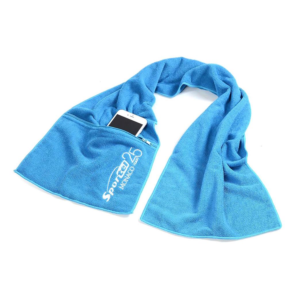 Toalla de deporte fabricada en 80% polyester + 20% polyamida. De medidas 30 x 120 cm. Incluye bordado, un color en una posición. Presentado en bolsa individual.