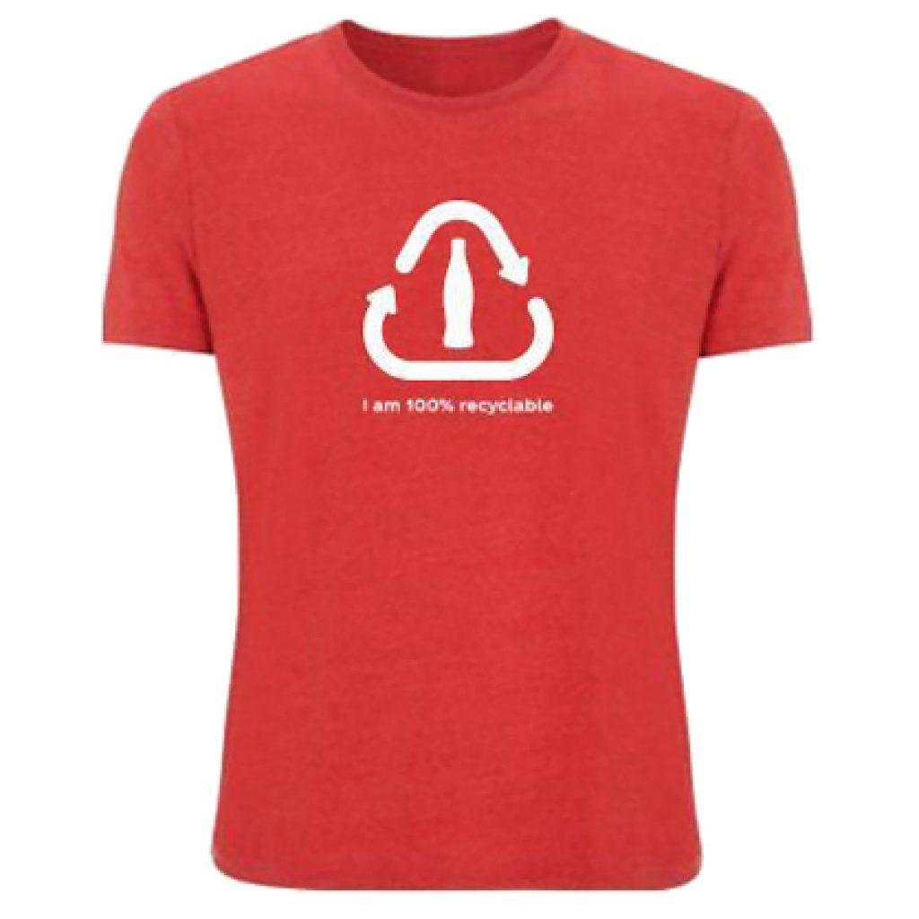 Camiseta de manga corta fabricada en material 100% RPET. Medida Unisex. Posibilidad de color pantone. Presentada en bolsa individual.